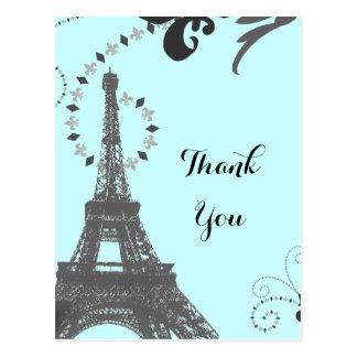 blue eiffel tower vintage paris thank you ポストカード