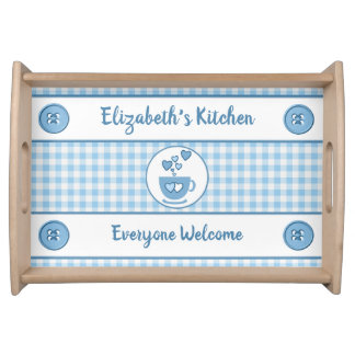 Blue gingham name kitchen トレー