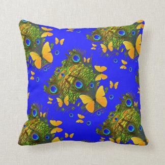 BLUE-GOLDの蝶孔雀の芸術 クッション