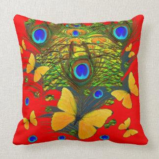 BLUE-GOLDの蝶孔雀の赤の芸術 クッション