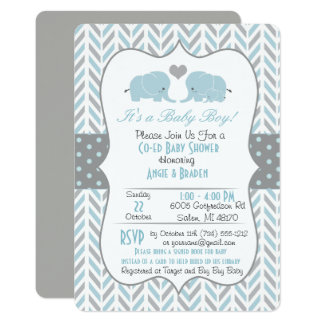 Blue Gray Elephant Baby Shower Invitation カード
