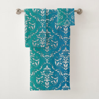 Blue Green Damask Towel Set バスタオルセット