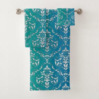 Blue Green Damask Towel Set バスタオルセット