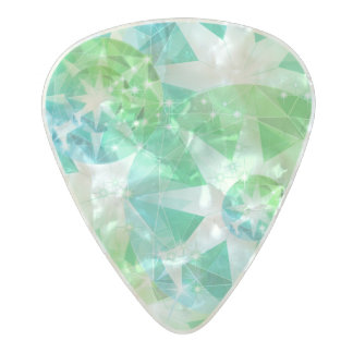 Blue Green Gemstone Compass Rhinestone Look パールセルロイド ギターピック