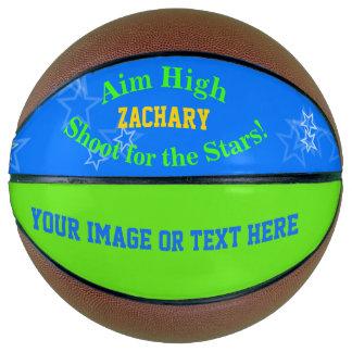 Blue Green Personalized Name Stars Basketball バスケットボール