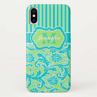 Blue, Green, White Striped Damask iPhone X Case iPhone X ケース
