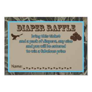 Blue Hunting Camo Baby Shower Diaper Raffle Card カード