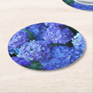 Blue Hydrangeas Floral ラウンドペーパーコースター