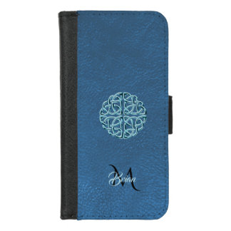 Blue Leather Celtic Knot Monogram Wallet Case iPhone 8/7 ウォレットケース