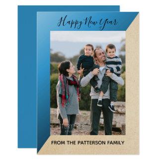 Blue Modern Slant New Year's Photo Flat Card カード