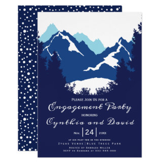 Blue mountains, conifers wedding engagement party カード