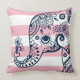 Blue Paisley Elephant On Pink & White Stripes クッション