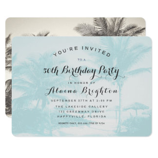 Blue Palm Trees Custom Birthday Party Invitation カード