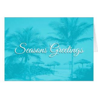 Blue Palm Trees Custom Text Christmas Card カード