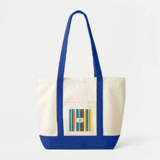 Blue, Red Yellow Striped Monogrammed Duffel Bag トートバッグ