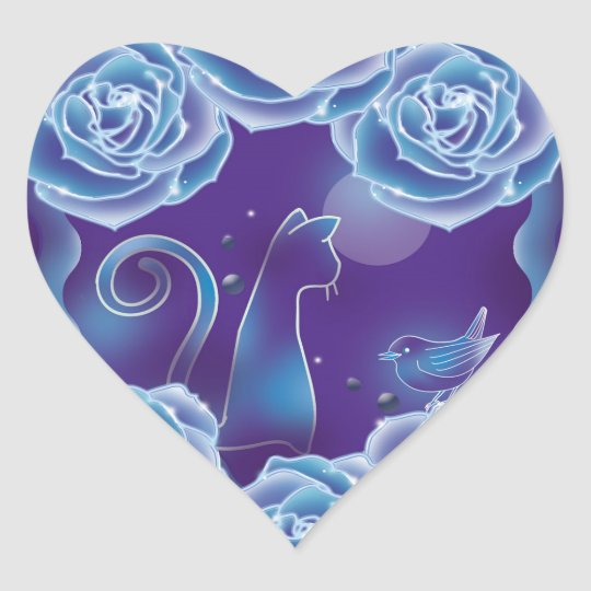 Blue rose and blue cat 青いバラと青い猫 ハートシール