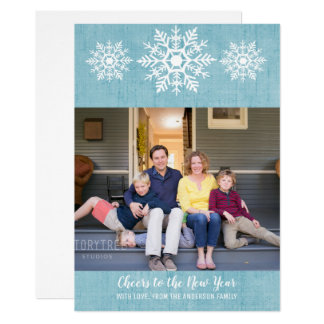Blue Rustic Snowflake New Year's Photo Flat Card カード
