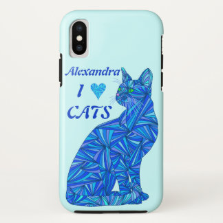 Blue Sitting Cat ifonx I Heart Cats Personalized iPhone X ケース