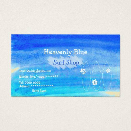 Blue sky ocean watercolor Surf shop2 sand beach 名刺