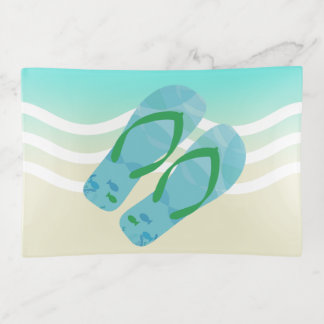 Blue Summer Beach Waves Flip Flops トリンケットトレー