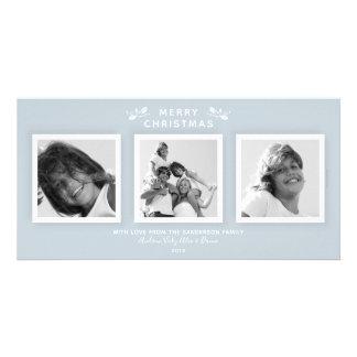 Blue Triple Photo Simple Modern Holiday カード