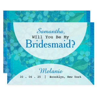 Blue Watercolor Floral Will You Be My Bridesmaid カード