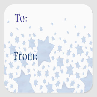 Blue Watercolor Star of David スクエアシール