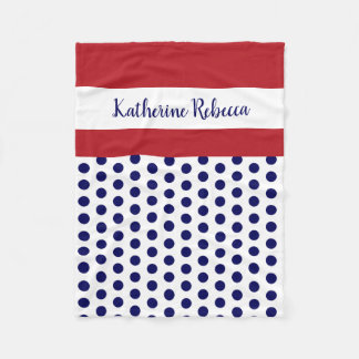 blue/white polka dots w red/white; personalized フリースブランケット