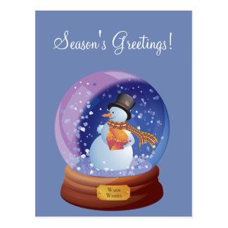 Blue Winter Snowglobe Custom Holiday Postcard ポストカード