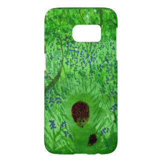 Bluebellの木製のハリネズミの春の絵画 Samsung Galaxy S7 ケース