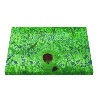 Bluebellの木製のハリネズミの自然の芸術 キャンバスプリント