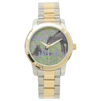 Bluebonnetsの腕時計の顔を搭載するロバそして子馬 腕時計