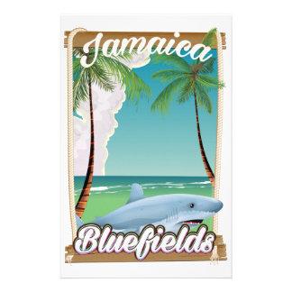 Bluefieldsのジャマイカのビーチの休暇ポスター 便箋