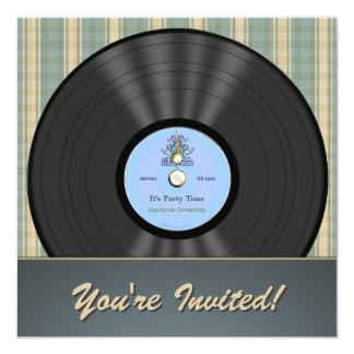Bluegrassのヴィンテージのレコードのパーティの招待状 カード