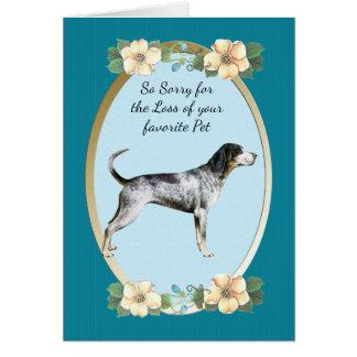 BluetickのCoonhound、ティール(緑がかった色)の花の悔やみや弔慰、ペット損失 カード
