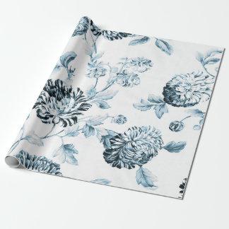 Blush Blue & White Vintage Botanical Floral Toile ラッピングペーパー