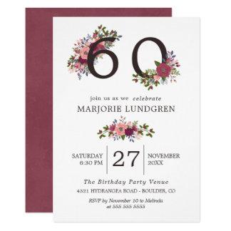 Blush & Burgundy Flowers Birthday Party 12.7 X 17.8 インビテーションカード