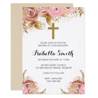 Blush Gold floral Baptism / Christening Invitation カード