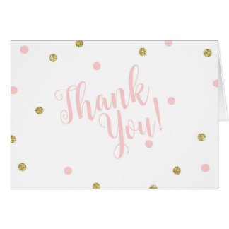 Blush Pink and Gold Glitter Thank You Cards カード