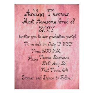 Blush Pink Custom Graduation Party Invitations ポストカード