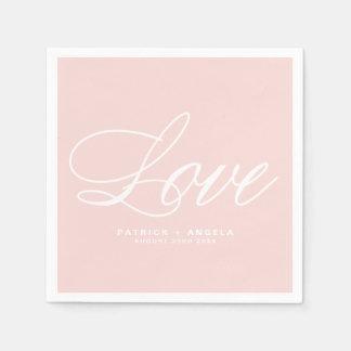 Blush Pink Elegant Script | Love Wedding スタンダードカクテルナプキン