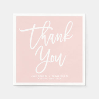 Blush Pink Hand Lettered Script Thank You スタンダードカクテルナプキン