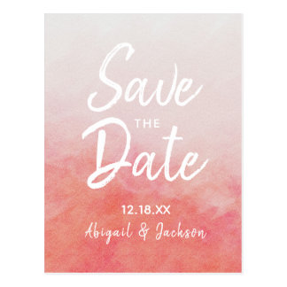 Blush Pink & Peach Watercolor Wash Save the Date ポストカード