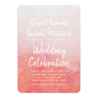 Blush Pink & Peach Watercolor Wedding Invitation カード