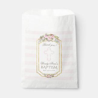Blush Pink Stripes Floral Gold Baptism Monogram フェイバーバッグ