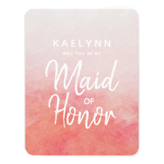 Blush Pink Watercolor Will You Be My Maid of Honor カード