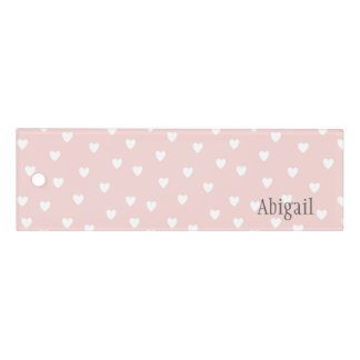 Blush Pink with White Hearts Personalized 定規
