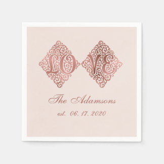 Blush Rose Gold Engraved LOVE Calligraphy Wedding スタンダードカクテルナプキン