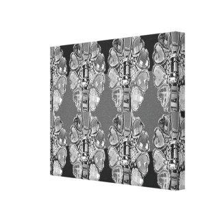 BNW B&Wの装飾的な宝石パターン黒nの白のおもしろい キャンバスプリント