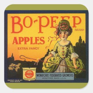 Boのぞき見のりんごのヒツジを広告するステッカーのヴィンテージ スクエアシール